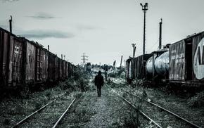 grass, black, men, railway