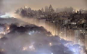 mist, cityscape, night, building, New York City, landscape