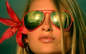 glasses, red flowers, girl, blonde, face