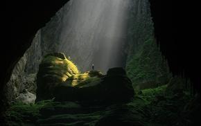 cave, sun rays, landscape, nature