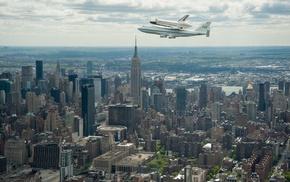 city, cityscape, Boeing 747, Boeing, NASA, skyscraper