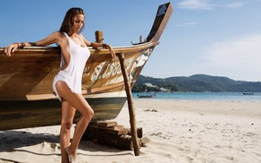 sea, model, Viki Odintcova, boat, mountain, beach