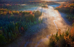 river, fall, mist, forest, landscape, aerial view