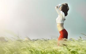 model, field, girl, girl outdoors, Asian