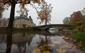 nature, architecture, river, reflection, fall, leaves