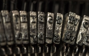 metal, mirrored, depth of field, typewriters, monochrome, vintage