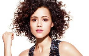 Nathalie Emmanuel, brunette, open mouth, looking at viewer, simple background, actress