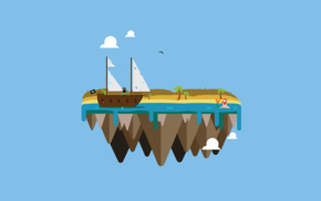 island, bottles, beach, pirates, vectors, floating island