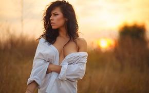 girl, girl outdoors, shirt, cleavage, open shirt, brunette
