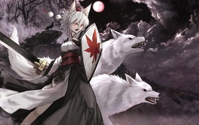Inubashiri Momiji, wolf, anime girls, Touhou, anime, sword
