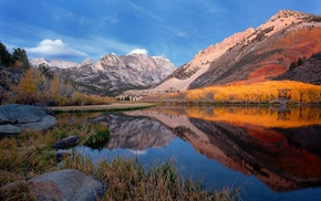 trees, reflection, grass, forest, fall, mountain