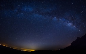 starry night, night, comet, stars, shooting stars, landscape