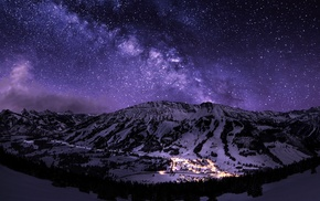 night, landscape, long exposure, town, galaxy, starry night