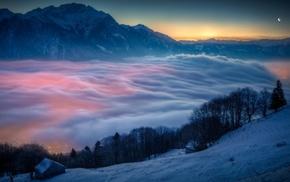 landscape, moon, snow, Switzerland, hut, mist