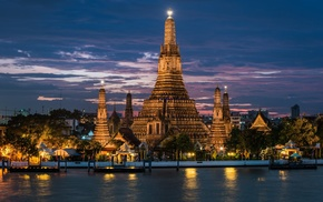 landscape, sunset, Thailand, Bangkok, river, old building