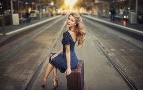 blue dress, blonde, looking at viewer, stiletto, sitting, high heels