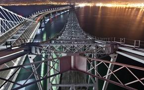 night, water, metal, long exposure, cityscape, sea