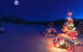 snow, christmas lights, Christmas Tree