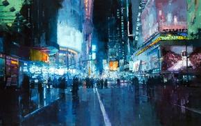 lights, road, city, New York City, Times Square, artwork