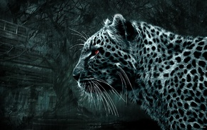 leopard, simple background, animals
