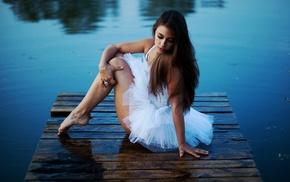 river, girl, model, ballerina