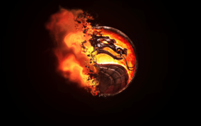 Mortal Kombat, dragon, burning