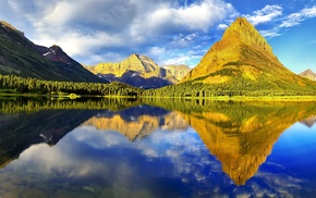 mountain, landscape, reflection, Glacier National Park, nature