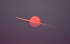 red, airplane, minimalism, aircraft, flying, contrails
