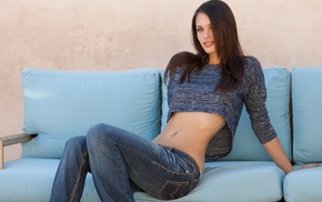 pierced navel, Tiffany Thompson, brunette, pornstar, jeans, Digital Desire