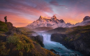 clouds, Chile, Torres del Paine, landscape, sunrise, mountain