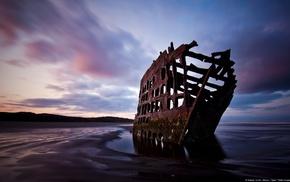 landscape, shipwreck, nature, wreck, beach, Oregon