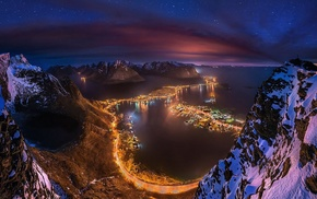 clouds, Lofoten, starry night, mountain, cityscape, Norway