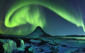 nature, aurorae, anime, river, landscape, mountain