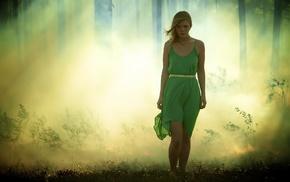 blonde, sunlight, green dress, model, grass, girl