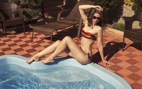 model, sitting, flat belly, bikini, girl, barefoot