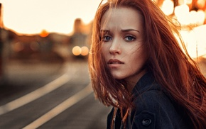 road, girl, model, redhead, face, girl outdoors