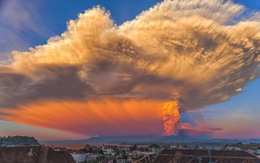landscape, Chile, huge, Calbuco Volcano, eruptions, smoke