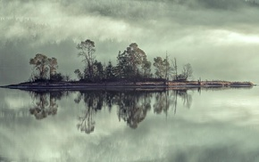 reflection, forest, water, mist, landscape, clouds