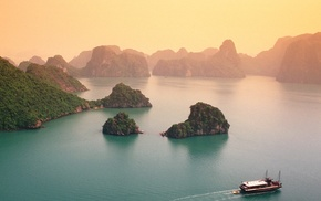 landscape, Halong Bay, cliff, mist, beach, Vietnam