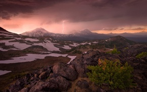 snow, snowy peak, Oregon, shrubs, landscape, lightning