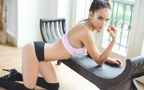 brunette, black stockings, girl, ass, gym clothes, sensual gaze