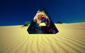 desert, space, Penrose triangle, nebula, triangle