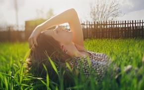 face, sunlight, model, girl, grass