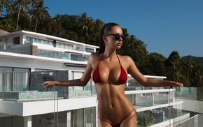 flat belly, brunette, Aleksandr Mavrin, model, red bikinis, girl with glasses