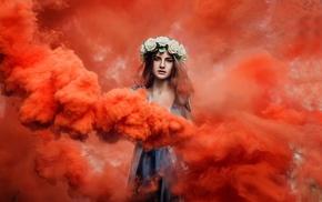 wreaths, girl, model, smoke, colorful