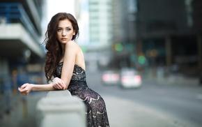 model, blurred, city, girl, long hair, dress