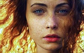 freckles, blue eyes, girl, face