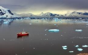 sunlight, sea, ship, ice, landscape, clouds