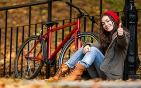 jeans, bicycle, model, boots, sitting, girl outdoors