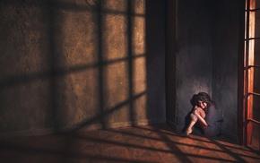 sitting, walls, long hair, interiors, model, shadow